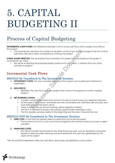 Mba Finance Project Report On Capital Budgeting Pdf by Fins1613 Course Notes And Formula Fins1613 Business