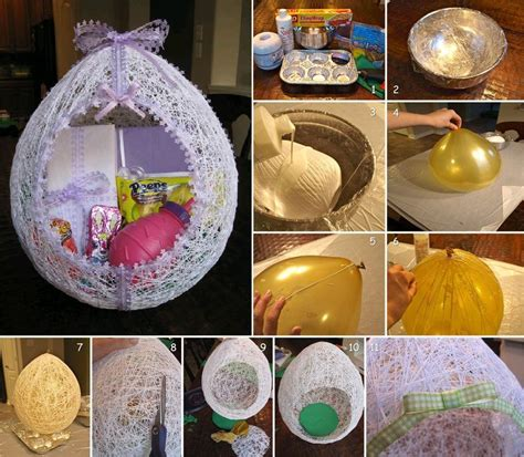 diy easter gifts diy easter egg basket from thread icreativeideas com