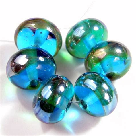 Handmade Glass Bead Jewelry - lwork transparent aqua blue handmade glass aurae