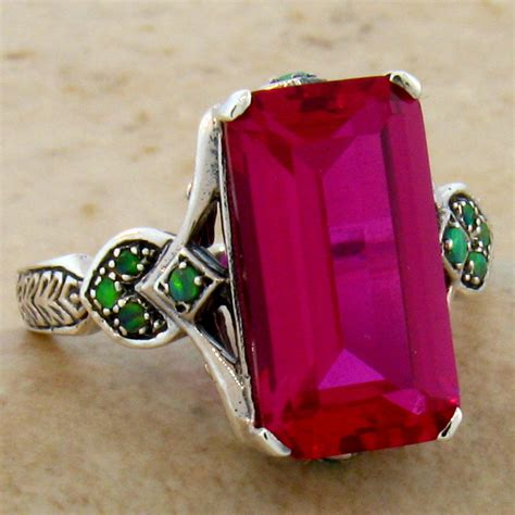 genuine aaa opal 6 7 8mm 925 sterling 7 ct lab ruby opal antique style 925