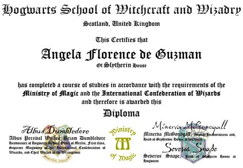 hogwarts certificate template my hogwarts diploma by kitana82483 on deviantart