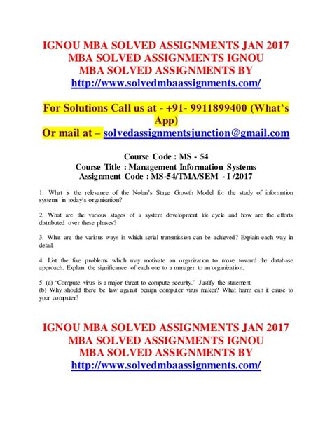 Mba In Operations Management From Ignou by Ignou Mba Solved Assignments 2017