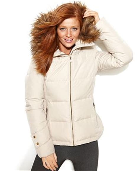 Calvin Klein Hooded Faux Fur Trim Quilted Puffer Coat by Calvin Klein Hooded Faux Fur Trim Quilted Puffer Coat