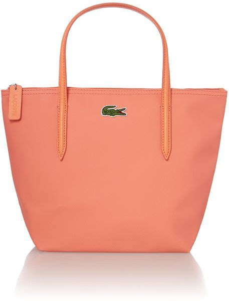 lacoste coral small tote bag in pink lyst