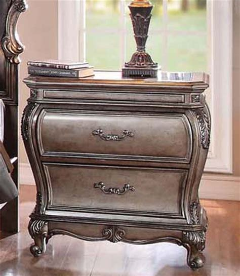 antique finish bedroom furniture silver night stands mirrored nightstand florentine