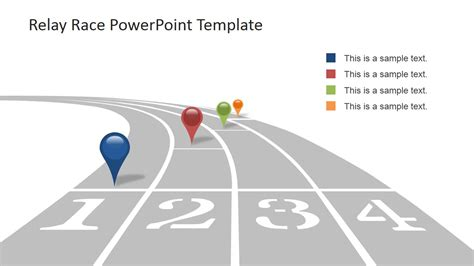 powerpoint templates free download racing race track with multi colored gps icons for powerpoint