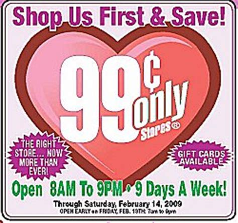 99 cent store valentines day cheap brand name for a buck one day sale
