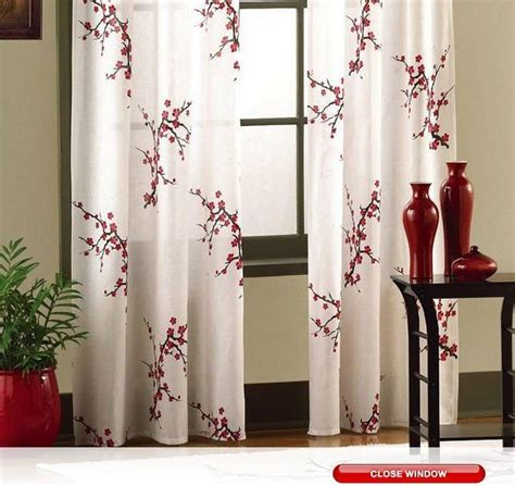 asian curtains drapes asian cherry blossom red floral window curtain panel pair