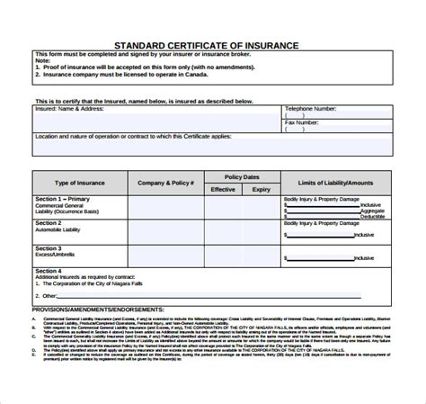 insurance certificate template certificate of insurance template 15 free