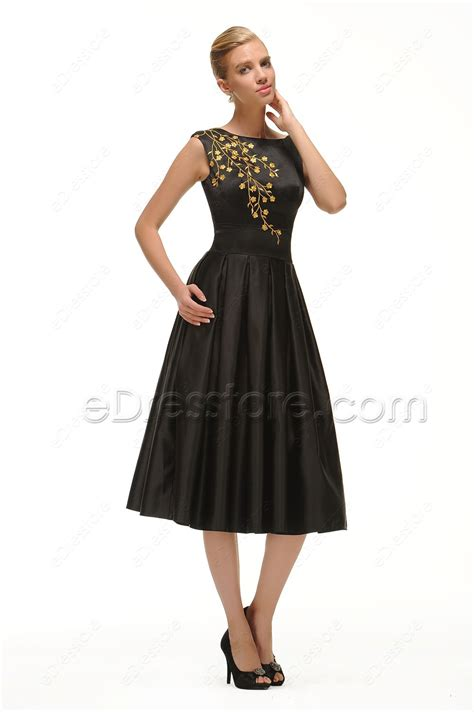 tea length cocktail dresses homecoming modest black cocktail dress tea length with golden embroidery