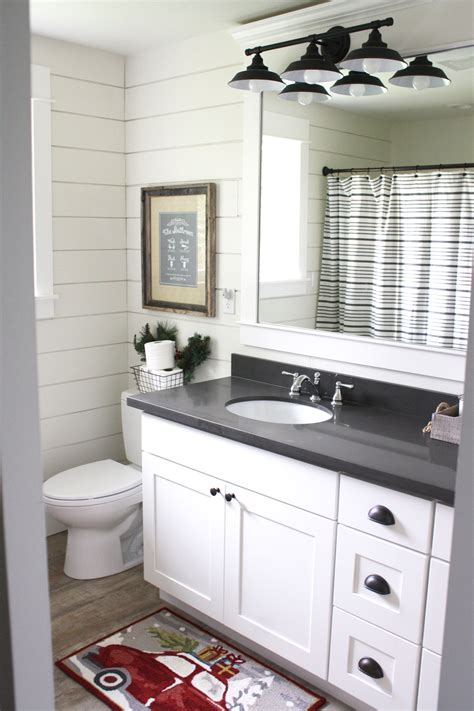 white cabinet bronze hardware simple farmhouse christmas bathroom using shiplap quartz