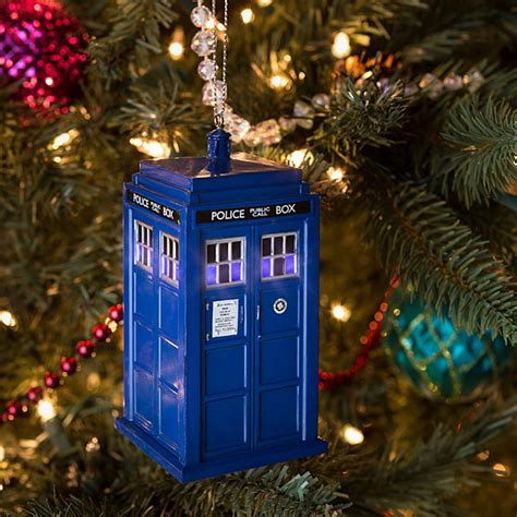 exclusive doctor who tardis lighted ornament thinkgeek