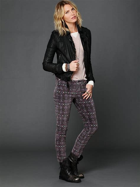 printed velvet nwt free people black purple printed velvet skinny jeans