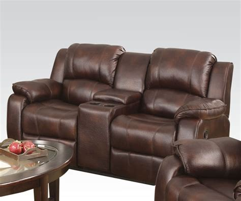 microfiber reclining loveseat with console zanthe brown polished microfiber reclining console