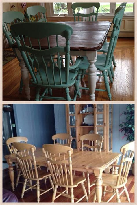 Dining Room Set Painted With Chalk Paint Chalk Paint Refinished And Craigslist Dining Room Set
