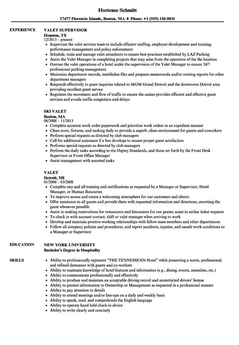 Valet Parking Resume by Valet Parking Resume Sle Intake Worker Sle Resume