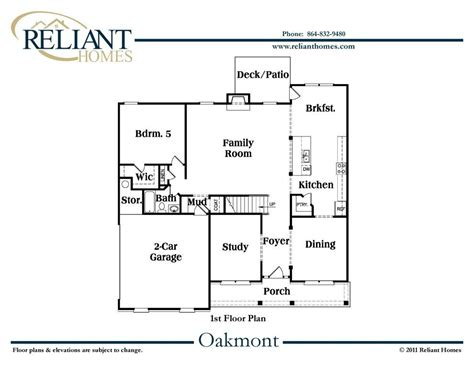 oakmont floor plan sc oakmont a reliant homes new homes in atlanta
