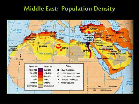 middle east demographic map ppt the geography of the middle east powerpoint