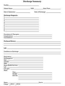 discharge form template discharge summary template in pdf word excel format