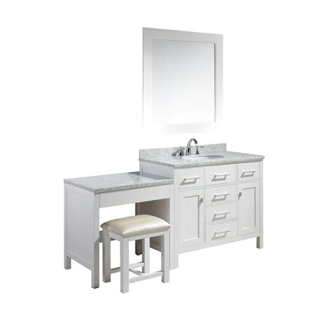 Home Depot Makeup Vanity by Design Element 42 In W X 22 In D Vanity In White With Marble Vanity Top In Carrara