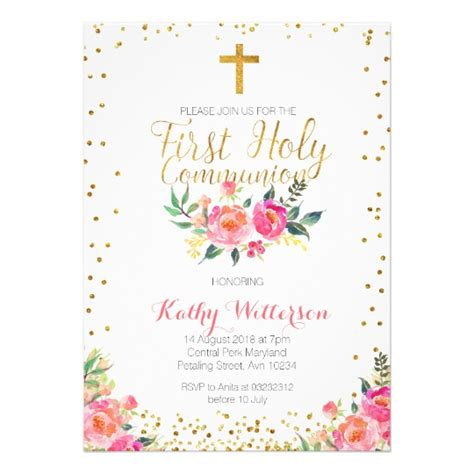 holy communion invitation cards templates floral holy communion invitation zazzle