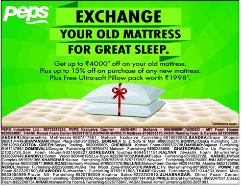 Exchange Offer On Mattress peps mattresses exchange offer sale offer and