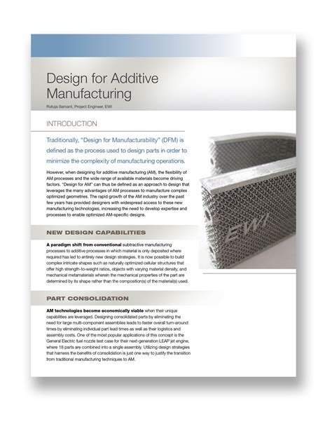 design for manufacturing papers ewi new paper design for additive manufacturing