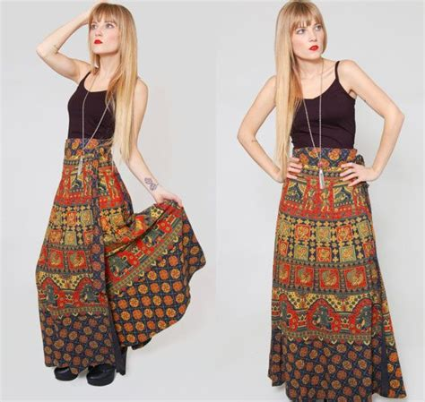 Wilatika Ethnic Warp Maxi Skirt vintage boho wrap skirt indian cotton hippie ethnic maxi skirt o s ethnic wraps and cotton