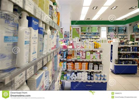 Unique Wall Shelves pharmacy shop editorial photo image 18989276