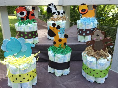 baby shower decorations 1 jungle theme mini diaper cake baby shower by