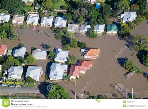 houses under water brisbane flood 2011 aerial view homes under water stock