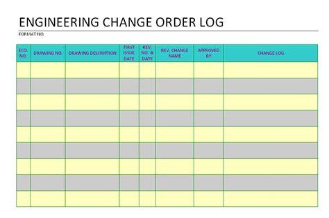 Engineering Excel Templates by Engineering Change Order Log Format Sles Word