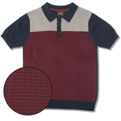 Tshirt Kaos Merc merc mod retro 60 s dogtooth knit s s polo shirt