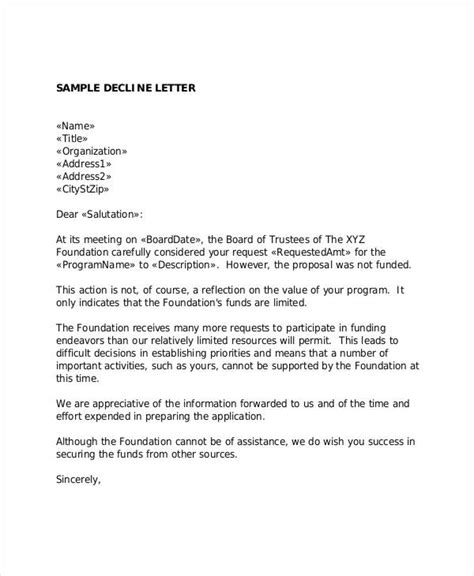 Decline Request Letter 6 grant rejection letters free sle exle format