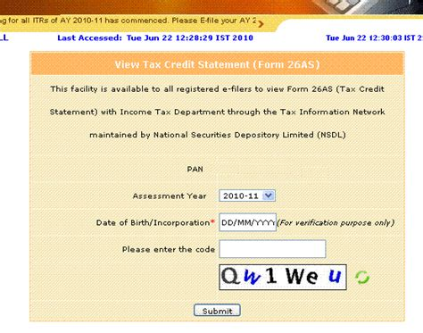 Tax Credit In Form 26as Tds Tax India Form 26as View Tax Credit Statement New Registration Procedure Via E Filling