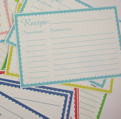 large printable recipe cards big b printable recipe cards