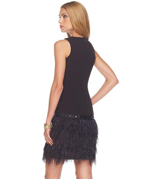 michael kors silk knee length dress  black lyst