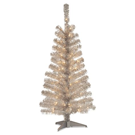 4 ft tinsel wrapped pre lit medium christmas tree