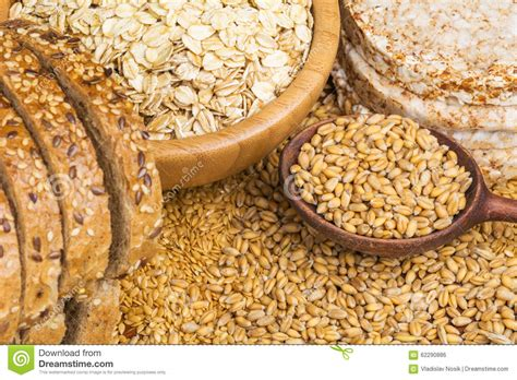 cereals with whole grains healthy grains cereals and whole wheat bread stock photo