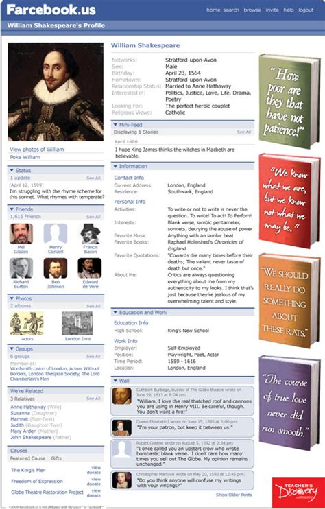 farcebook template literary expert ms teaches