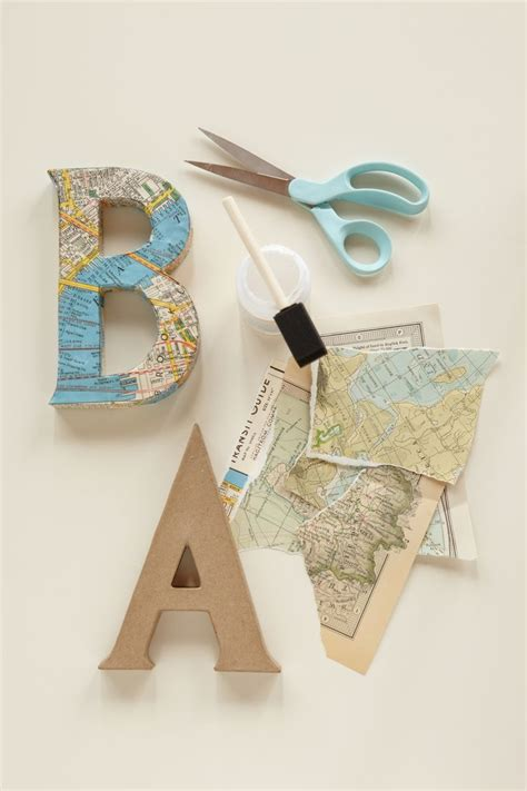 Decoupage Cardboard Letters - decoupage letters use vintage maps and cut out letters to