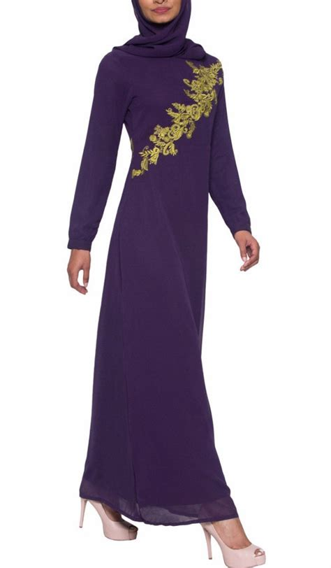 Dress Muslim Hana purple chiffon modest muslim evening dress abaya
