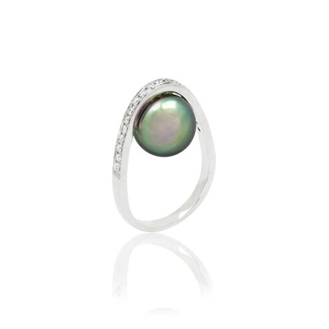14k white gold tahitian peacock pearl orbit ring
