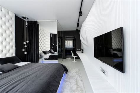 m3 arredamenti pomezia black and white bedroom featuring an intricate wavy wall