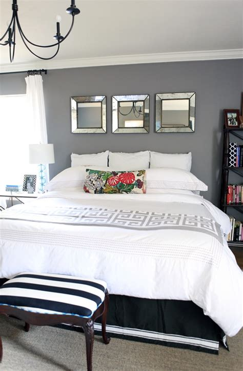 mirror above headboard 5 places to use mirrors in your home bedrooms dark gray