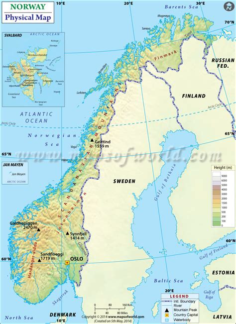 Physical Map of Norway