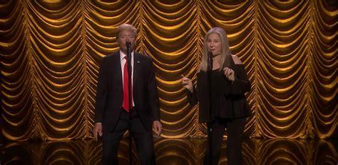 barbra streisand walls lyrics jimmy fallon dresses up as donald trump for duet with
