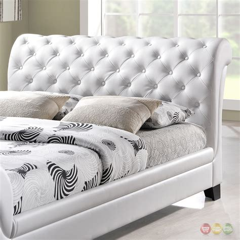 White Leather Sleigh Bed Kate Modern Button Tufted Faux Leather Sleigh Bed White