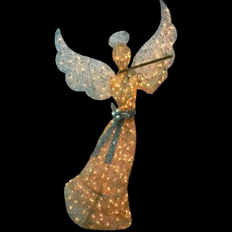 home accents holiday   pre lit gold angel ty