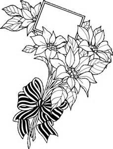 coloriage bouquet de poinsettia avec carte de voeux